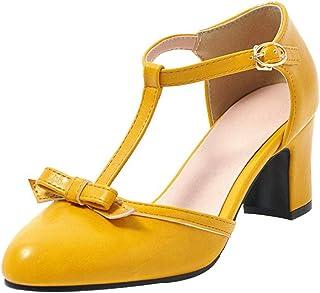 8965ff4ec0e812 Kittcatt Chaussure Escarpins Femme Mary Jane Laniere en T Noeud Vintage  Boucle à Talon Haut Bloc