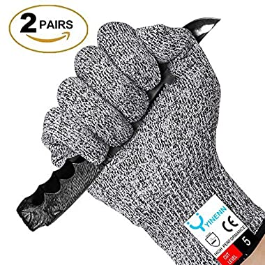 YINENN Cut Resistant Gloves with Level 5 Hand Protection,Food Grade Safety Cutting Gloves for Oyster Shucking,Fish Fillet Processing,Mandolin Slicing,Meat Cutting,Wood Carving,Knife-2 Pairs(Medium)