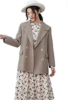 justzzu A Short Double-Faced Cashmere Coats,Women, Loose and Casual,exquisitely Cut Silhouette,College Lapel Design