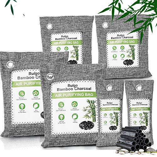 Ruigo Bamboo Charcoal Air Purifying Bags(6 Pack), Activated Charcoal Odor Absorber,Natural Charcoal Bags Odor Absorber, Odor Eliminator for Home, Pets, Car, Closet, Basement, RV
