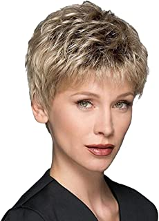 GNIMEGIL Short Straight Ombre Blonde Color Synthetic Wigs for Women With Bangs Heat Resistant Fiber Party Costume Wig Natu...