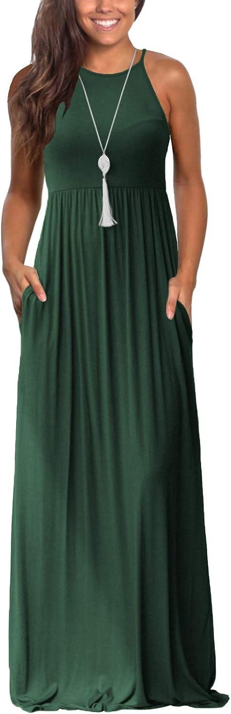 New Orleans Mall Lamilus Maxi Dresses for Superlatite Women Summer Plain Loose Cas Sleeveless
