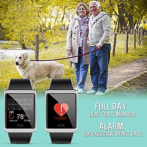 Reloj deportivo inteligente para mujeres y hombres IP68 impermeable pulsera deportiva reloj fitness con monitor de sueño de ritmo cardíaco con cronómetro y reloj despertador A-A