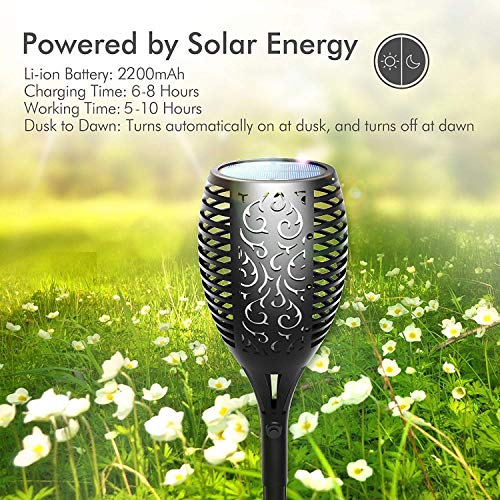 Otdair Solar Torch Lights Waterproof Flickering Flame Solar Torches Dancing Flame 96 LED Landscape Decoration Lighting Dusk to Dawn Outdoor Security Path Light for Garden Patio Driveway (4 Packs)
