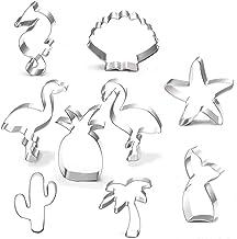 Cookie Cutter Set-9 Piece-Mermaid,Starfish,Seashell,Seahorse,Cactus,Pineapple,Flamingo,Palm Tree,Stainless Steel Cookies M...