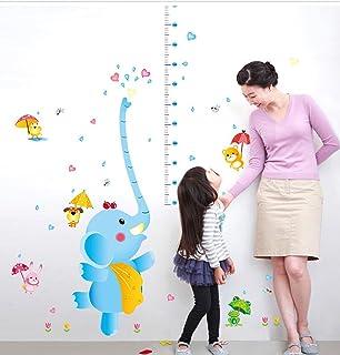 BIBITIME Spraying Hearts Elephant Height Chart Raindrop Umbrella Rabbit Dog Bear Chick Frog Wall Decal Nursery Growth Char...