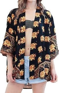 UOKNICE Ladies Tassels Floral Sleeve Beach Thin Kimono Cover-up Casual Cardigan Long Tops Suit Bikini Swimwear Beach