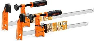 Jorgensen 2-Piece Steel Bar Clamp Set, Light Duty F-Clamp, 8-inch & 12-inch, 300 Lbs Load Limit