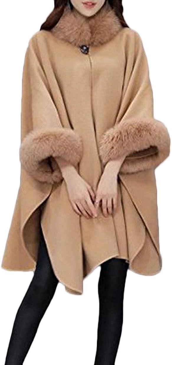 HX fashion Donna Giubbotto Poncho Inverno Colletto in Pelliccia Mantellina Cappotti Elegante Chic Ragazza Calda Collo Alto Manica Lunga Giubbino con Bottoni Pashmina Allentata Mantelle Abbigliamento