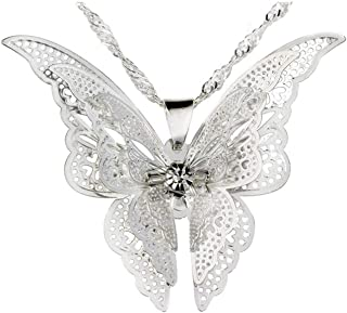 ILJILU Women's 925 Sterling Silver Plated Butterfly Pendant Necklace