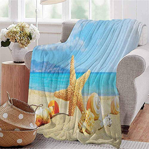 ERshuo Seashells Bedding Microfiber Blanket Summer Beach Theme and Sand with Rays In The Sky Clouds Seaside Marine Super Soft and Comfortable Luxury Bed Blanket Aqua Ivory Mustard 60x80IN