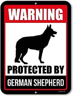 Honey Dew Gifts Beware of Dog Sign Warning Protected by German Shepherd 9 x 12 Inch Beware of Dog Warning Metal Aluminum S...