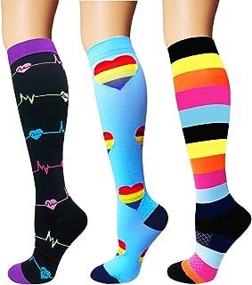 7 Pares Calcetines de compresión para Mujeres y Hombres 20-25 mmHg es el Mejor atlético, Correr,Escalar Montaña,Vuelo, Viajes, Enfermeras, Edema