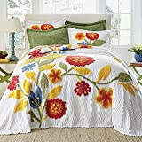 BrylaneHome Bloom Chenille Bedspread Floral Bedding Colorful Flowers - Queen, Red Multi