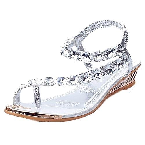 3c5b939365279 EGELEXY Women Sandals Bling Rhinestone Flats Sandals Fashion Flip Flops  Shoes