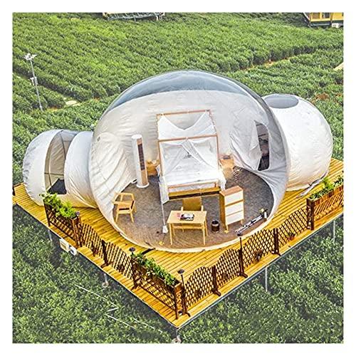 Aufblasbares transparentes Zelt, Garten 360 Dome Dual-Tunnel im Freien luxuriöse transparente aufblasbare Bubble Zelt für Familie Camping Backyard Haus Kuppelzelt transparent Ansicht Pavillon, 4m