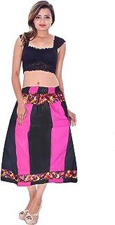 Lakkar Haveli - Gonna da Donna, Stile Indiano, con Patchwork, Colore: Nero e Rosa, Taglie Forti