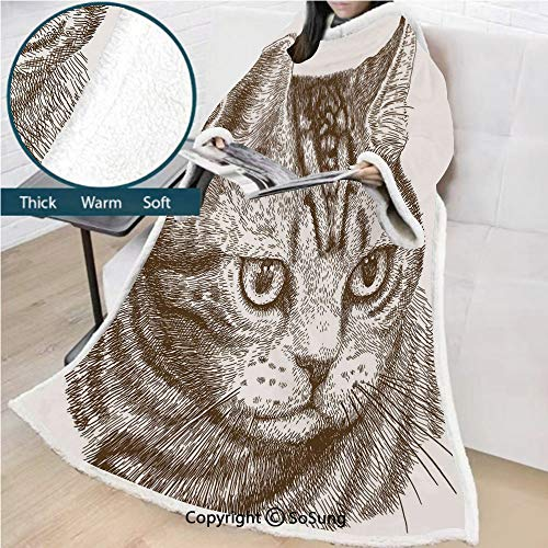 Cat Premium Sherpa Deluxe Fleece Blanket with Sleeves,Portrait of a Kitty Domestic Animal Hipster Best Company Fluffy Pet Graphic Art Throws Wrap Robe Blanket for Adult Women,Men,Chocolate White