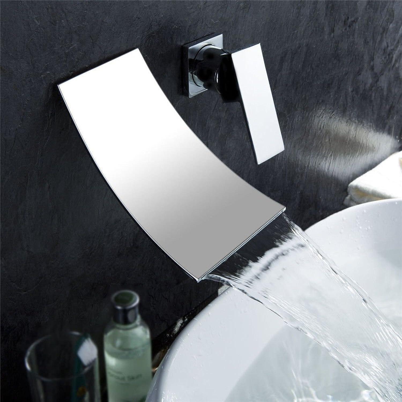 Lalaky Waschtischarmaturen Wasserhahn Waschbecken Spültisch Küchenarmatur Spültischarmatur Spülbecken Mischbatterie Waschtischarmatur Dunkler Wand-Verchromter Kupferner Wasserfall 2 Lcher