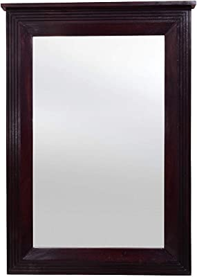 Furniseworld Wooden Frame Decorative Wall Mirror for Living Room (Walnut Finish)
