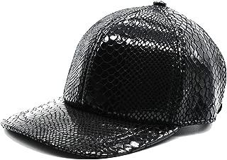 Maylian Hip Hop Mens Unisex Black Genuine Leather Trucker Hat Baseball Fitted Cap Adjustable