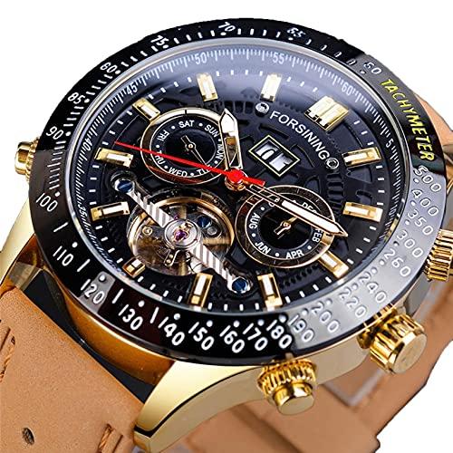 Excellent Reloj automático de los Hombres con Esfera de Esqueleto y Correa de Cuero Genuino marrón Moda de Ocio multifunción multifunción TOURBILLON AUTOMÁTICO Reloj mecánico,A04