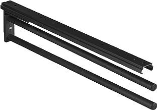 Gedotec Handdoekhouder uittrekbaar bad & keukenkast handdoek uittrekbaar 90° - H6008 | zwart | theedoekenhouder 2-arm | le...
