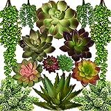 Seeko Artificial Succulents - 14 Pack - Create Realistic Succulent Arrangements, Faux Potted Succulent Decor, and Fake Succulent Planters