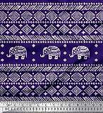 Soimoi Blau Satin Seide Stoff Aztec & Stammes-Elefant Tier