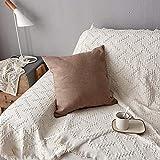 XYZU Fundas de Cojín, Fundas para Cojines,Cojines para Sofa con Cremallera Invisible Funda de Cojín para sofá Dormitorio CocheSimple Color Sólido Super Soft Soft Fillow Set 2pcs-marrón_45 * 45cm