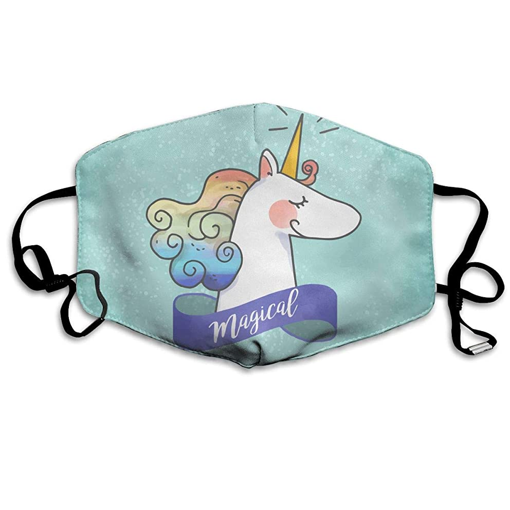 Col1Q Believe in Unicorn (1) Earloop Face Masks - Germ Dust Smoke Gas and Allergies Protection for Men & Women