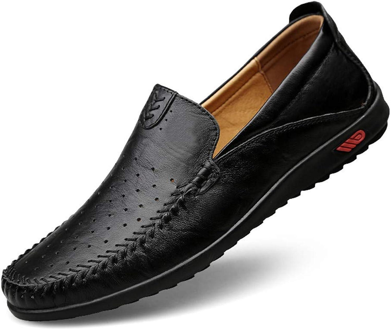 GPF-fei Men's shoe Leather Lazy shoes Loafers shoes Driving shoe Round toe shoe Peas shoes Single shoe Comfortable Fashion Breathable Leisure,Black,42