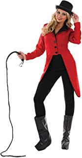 Womens Circus Ringmaster Costumes Red Showman Tailcoat Jacket Outfits