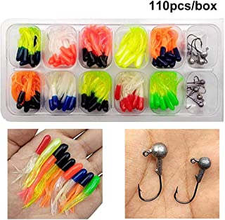 Shaddock Fishing Lures Baits Tackle, Trout Crappie Kit, Crappie Tube Jigs Fishing Gear Set Including Plastic woms, Jigs Heads Hooks, 17-110pcs Soft Plastic Bait Set