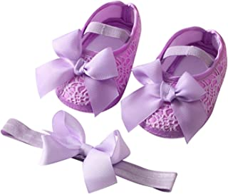 Baby Girls Satin Cloth Bowknot Princess Shoes Newborn Soft Sole Walking Shoes with Headband Set (Baby Age : 0-6 Months, Co...