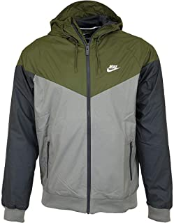 Nike Mens Windrunner Hooded Track Jacket Olive Canvas/Dark Stucco/White 727324-395 Size Small