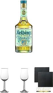 Helbing Aquavit Spezialität 0,5 Liter  2 Bugatti Nosing Gläser mit Eichstrich 2cl und 4cl  2 Schiefer Glasuntersetzer eckig ca. 9,5 cm Durchmesser