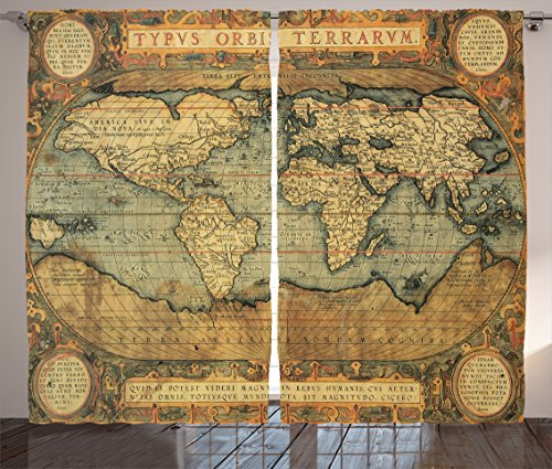 """Ambesonne World Map Curtains, Old Chart Vintage Composition of 16th Century Atlas Print, Living Room Bedroom Window Drapes 2 Panel Set, 108"""" X 84"""", Sand Blue"""