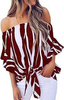 FENZL Women Striped Off Shoulder Waist Tie Blouse Short Sleeve Casual T Shirts Tops (L, Wine)