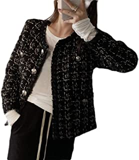 Macondoo Women's Fall/Winter Jacket Classic Woollens Coat Tweed Crewneck Outwear