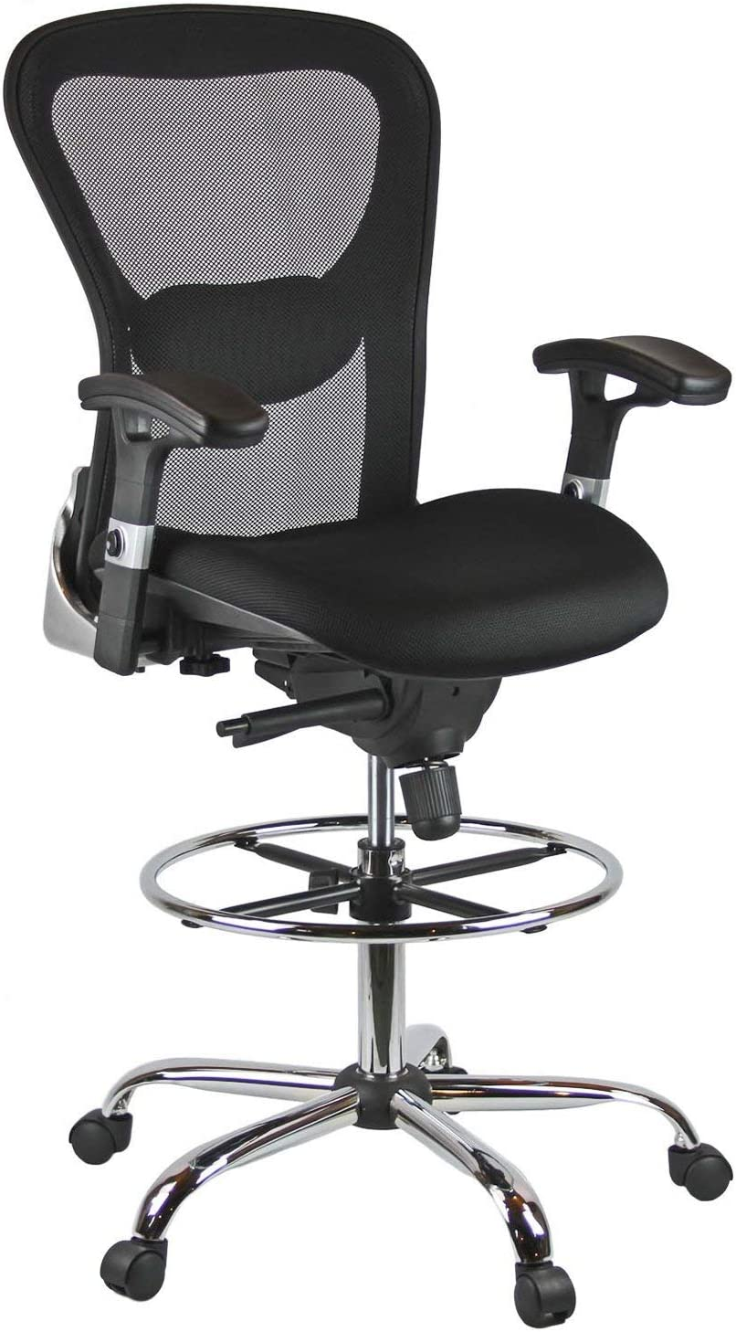 Harwick Deluxe Mesh Drafting Stool San Antonio Mall - Arms Black Beauty products with