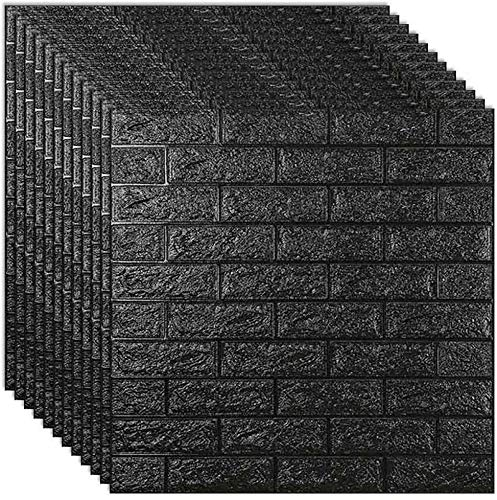 nozama 3D Effect Wallpaper Sticker Black 70×77cm Wallpaper 3D Brick 10pcs 3D Tile Brick Wallpaper for Bedroom and Living Room (Black)