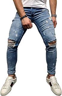613badb30f3f0 BMEIG Jean Dechire Homme Slim Fit Stretch Genou Détruit Jeans en Difficulté  Designer Classique Broken Holes