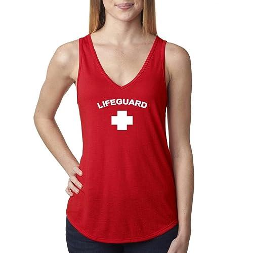 0b3aae985e2215 Buy Cool Shirts Ladies Lifeguard Red Flowy V-Neck Tank Top