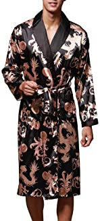 OLIPHEE Men's Floral Lightweight Long Sleeve Loose Silk Dressing Gown Nightwear