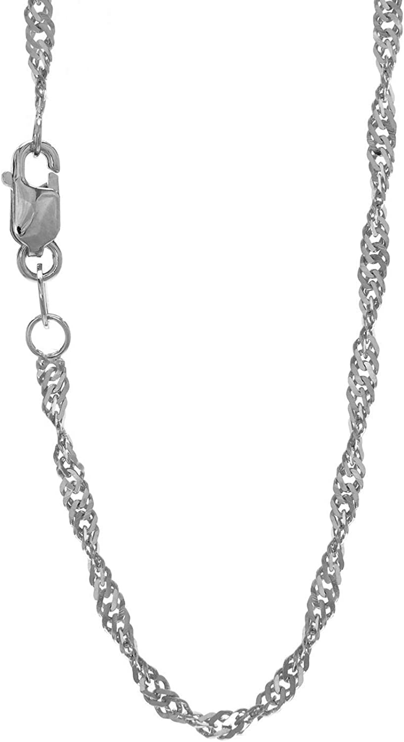 JewelStop 14k Solid Gold Yellow Or White 1.5 mm Singapore Chain Necklace 16