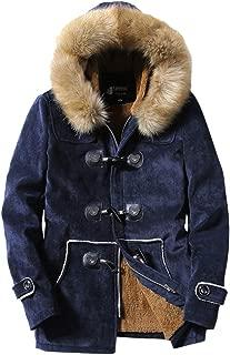 Men's Winter Fleece Jacket Hood Faux Fur Lined Thicken Coat