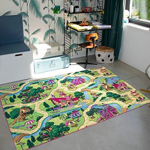 Carpet Studio Teppich Kinderzimmer 140x200cm, Spielteppich Straße Mädchen für Schlafzimmer & Spielzimmer, Antirutsch, 30°C waschbar - Candy Town