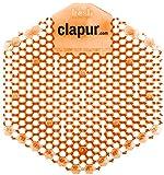 clapur Urinalsieb (2 Stk.) mit Mango Duft, Austausch-Indikator und doppelseitigem Spritzschutz, guter Geruch für jedes Pissoir und Urinal, eckig, orange