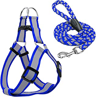 Callenbach Dog Harness and Leash Set, Night Reflective Harness and Leash Adjustable Nylon Harness with 4ft Walking Traction Rope fit Small and Medium Puppies Dogs